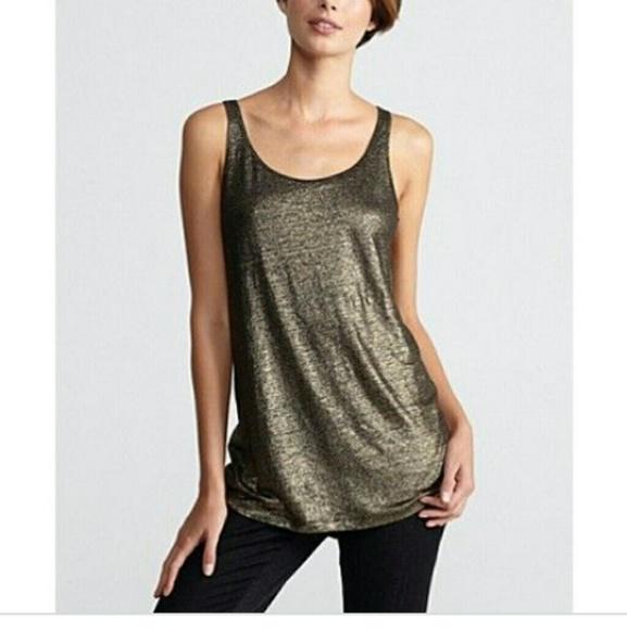 b04eadaafbda4 Eileen Fisher Tops - Eileen Fisher Gold Shimmer Linen Tank Top